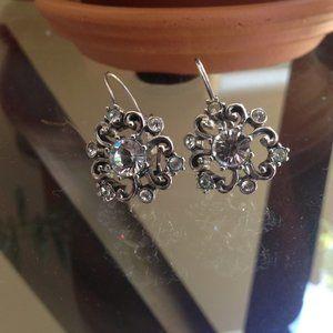 Silver dangle cluster leverback earrings